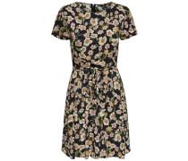 Bedrucktes Kleid mit kurzen Ärmeln mischfarben / schwarz