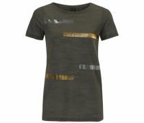 Rundhalsshirt mit Streifen Print gold / oliv / silber