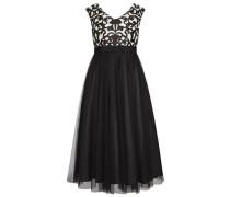 Abendkleid mit Ornamenten creme / schwarz
