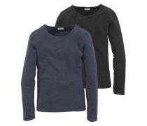 Langarmshirt mit Rundhalsausschnitt (Packung 2 Stück) für Mädchen blau / schwarz