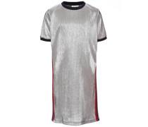 Metallisches Kleid mit kurzen Ärmeln silber