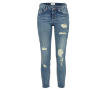 'Nela Cropped Distressed' Skinny Jeans blue denim