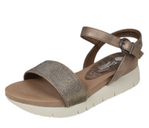 Metallic-Sandale braun