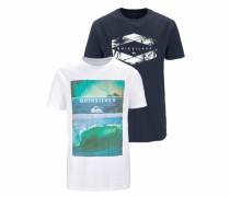 T-Shirt marine / mischfarben / weiß