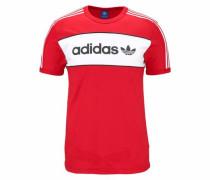 T-Shirt 'block Tee' rot / schwarz / weiß