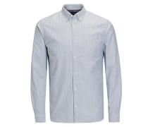 Oxford-Web-Langarmhemd rauchblau / weiß