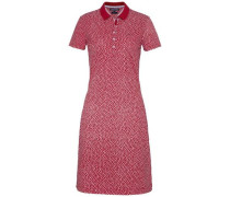 Kleid 'new Chiara STR PQ Polo Dress SS' rot / weiß