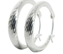 Strukturierte Reifen-Ohrringe silber