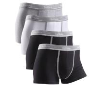 Boxer (4 Stück) mit kontrastfarbenem Bund und Pipings graumeliert / schwarz / weiß