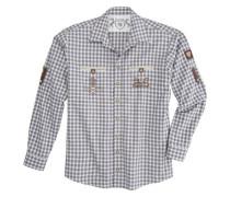 Trachtenhemd in Flanelloptik lila / weiß