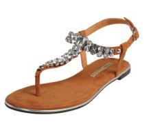 Sandalen mit Glitzersteinen beige