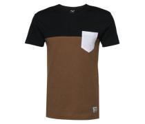 T-Shirt mit Brusttasche karamell / schwarz