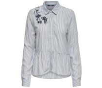 Besticktes Langarmhemd grau / weiß