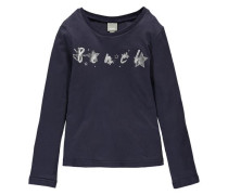 Langarmshirt für Mädchen ultramarinblau / grau / weiß