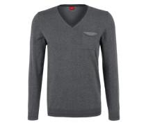 V-Neck-Pullover mit Ringeln schwarz