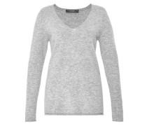 A-Linien-Pullover mit V-Ausschnitt grau