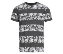 Blumen-T-Shirt dunkelgrau / weiß