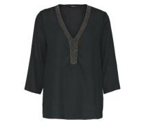 Detaillierte Bluse mit 3/4 Ärmeln schwarz