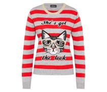 Strickpullover 'cat' grau / rot