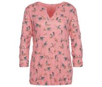 T-Shirt Crinkle-Shirt mit Vogel-Print