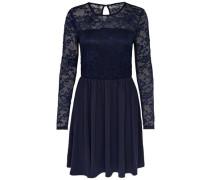 Kleid mit langen Ärmeln aus Spitze nachtblau