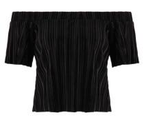 Carmen-Top in Samt-Optik mit Falten schwarz