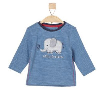 Ringelshirt mit Elefanten-Patch blue denim / grau / rot / schwarz