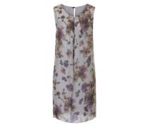 Kleid floral ohne Ärmel silbergrau / mischfarben / dunkelrot