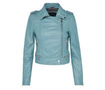 Biker-Lederjacke himmelblau