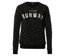 Sweater 'Life is my Runway' schwarz