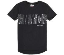 Hilfiger Denim T-Shirt (mit Arm) 'thdw CN T-Shirt S/S 29' schwarz / silber