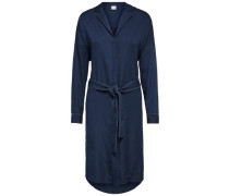 Hemd-Kleid mit Bindegürtel saphir