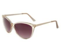 Cat-Eye-Sonnenbrille mit Metallbügel beige