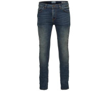 Slim Fit Jeans Loom med blue breaks blau
