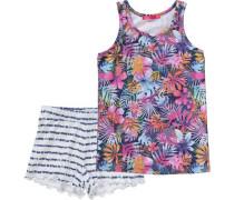 Schlafanzug Arianne für Mädchen blau / hellblau / dunkelblau / orange / pink / weiß