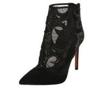 High Heel Stiefelette mit Glitzersteinen schwarz