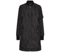 Nylon-Bomber-Mantel schwarz