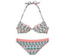 Push-Up-Bikini marine / türkis / lachs