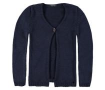 Baumwoll-Strickjacke mit Knopf Mädchen Kinder blau