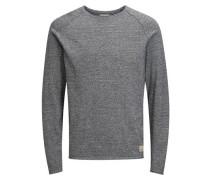 Raglan-Pullover Waffel-Webung blaumeliert