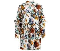 Kleid mit langen Ärmeln mischfarben / weiß