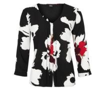 3/4-Arm-Bluse mit Biesen rot / schwarz / weiß
