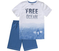 Schlafanzug für Jungen himmelblau / weiß