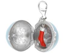 Charm 'Christmas Ball' hellblau / rot / silber
