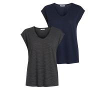 T-Shirt 2er-Pack enzian / dunkelgrau