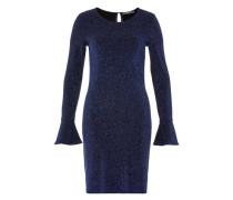 Kleid mit Ärmelvolants blau