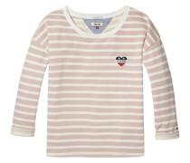 Sweatshirt 'thdw Stripe BN Hknit 3/4 SLV 17' rot / weiß