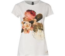 T-Shirt gold / khaki / hellorange / weiß