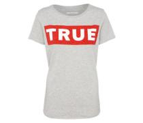 T-Shirt 'boxy' graumeliert / rot / weiß