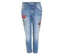 Cropped Boyfriend-Jeans mit Stickereien blau